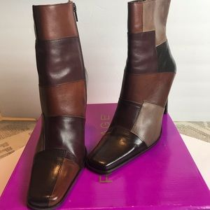 Patchwork women leather booties. NWOT
